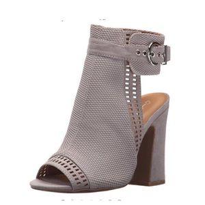 Shoes - Gray Buckle heeled sandal
